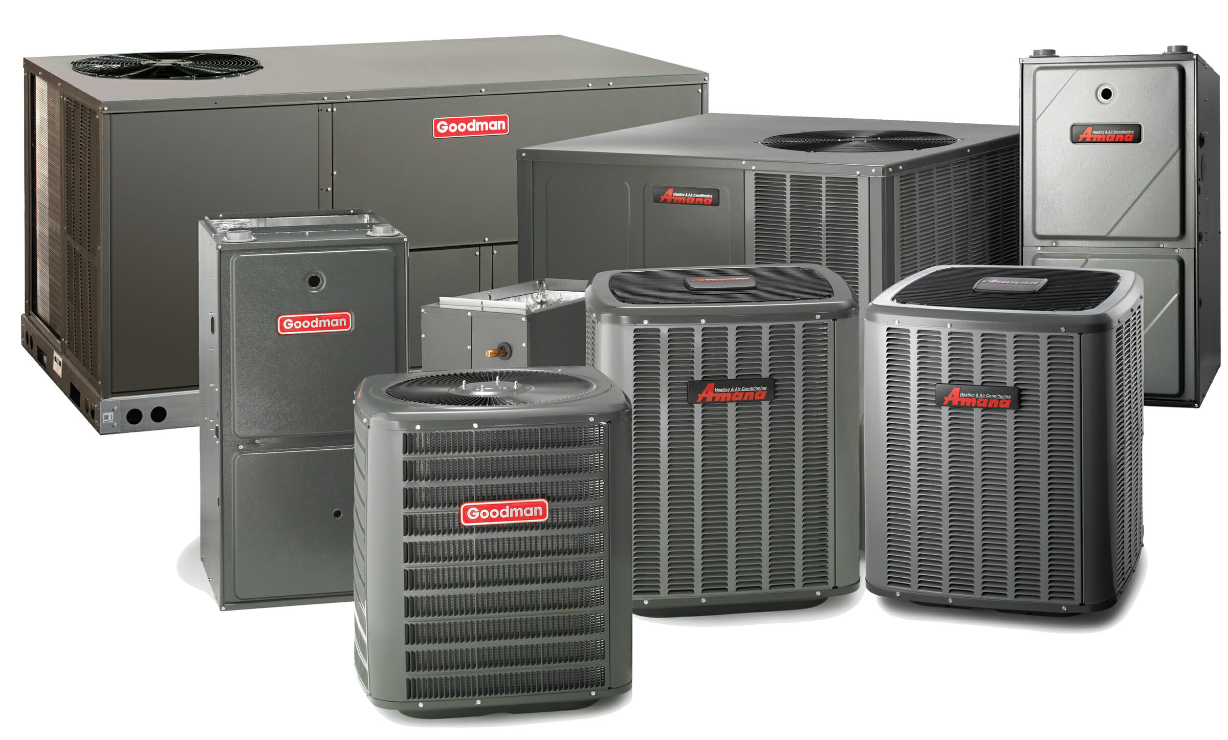 Group of Amana & Goodman air conditioning products